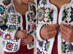 61 Best Ideas For Crochet Granny Square Sweater Pattern Solid Colors Crochet Bolero, Crochet Coat, Crochet Jacket, Crochet Cardigan, Crochet Clothes, Crochet Square Patterns, Crochet Squares, Crochet Granny, Granny Square Poncho