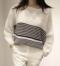 Trendy High-Low Hem Round Neck Loose-Fitting Striped Sweater For Women
