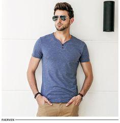 V-neck Casual Solid Color Short Sleeve Slim Fit Cotton tee shirt – TopFashionova