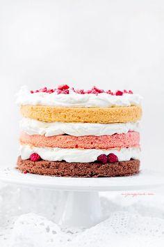 3 color raspberry cream cake