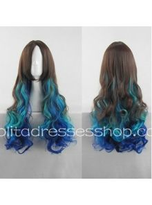 Lolita Curly Wig by Brown Blue Mixed Color 70cm