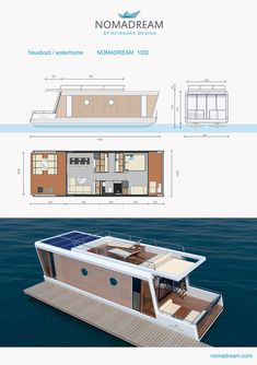 Free Plans For Boat Building 3427927062 Plywood Boat Plans, Wooden Boat Plans, Wooden Boats, Pontoon Houseboat, Houseboat Living, Floating Architecture, Water House, Boat Building Plans, Floating House