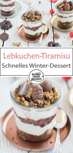 Here is the perfect Christmas dessert for all chocolate lovers: tiramisu to spice bread in a glass. The Christmas dessert … Healthy Dessert Recipes, Health Desserts, Vegan Desserts, Fun Desserts, Desserts Sains, Spice Bread, Christmas Sweets, Christmas Chocolate, Winter Desserts