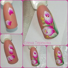 3d Flower Nails, Flower Nail Designs, Rose Nails, Nail Art Designs, Uñas One Stroke, One Stroke Nails, Nails First, Nails Only, Gel Nail Art