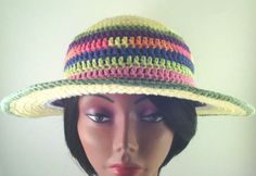 Crochet Sunhat - Striped Sunhat - Sunhat and Barefoot Sandals - Beach gear - Summer wear - Summer Weddings - Beach Weddings - Bridesmaids
