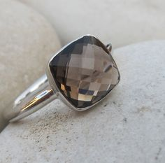 Mothers Day Sale Smoky Quartz Ring Quartz Ring Silver by Belesas, $56.69