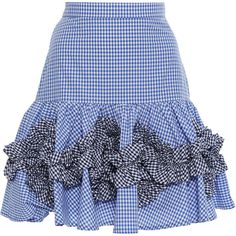 Alexis     Daly Fit And Flare Skirt ($395) ❤ liked on Polyvore featuring skirts, blue, high waisted knee length skirt, high waisted ruffle skirt, blue skirt, alexis skirt and frill skirt