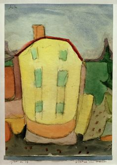 1935 Paul Klee 'Portrait of a House' [Bildnis eines Hauses]. Watercolour and charcoal on paper on artist's mount. Kitsch, Futurism Art, Paul Klee Art, Design Theory, Collage, Painting Process, Oeuvre D'art, Les Oeuvres, Picture Frames