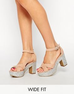 New Look Wide Fit Teeny Nude Glitter Sole Heeled Sandals