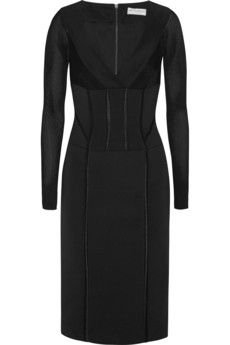 Amanda Wakeley Open-knit paneled faille dress | THE OUTNET