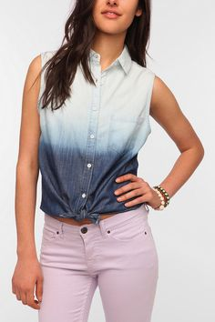 BDG Sleeveless Tie-Front Chambray Shirt