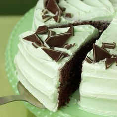 Our made-for-a-crowd chocolate cake sports a minty-green frosting that's infused with creme de menthe and topped with chopped chocolate mints: http://www.bhg.com/holidays/st-patricks-day/recipes/delicious-st-patricks-day-desserts/?socsrc=bhgpin030414cremedementhecake&page=21