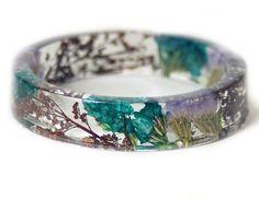 Bracelet -Brown Bracelet- Purple Flower Jewelry- Resin Jewelry- Flower Bangle- Turquoise Flower Bracelet- Green Jewelry