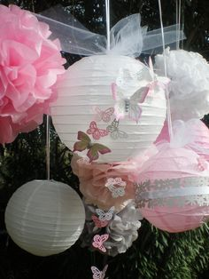 Beautiful butterfly lantern and pom pom set with hand painted butterflies pink gray white