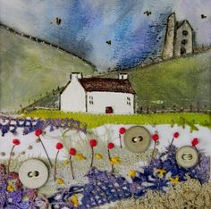 Louise O'Hara of DrawntoStitch Freehand Machine Embroidery, Free Motion Embroidery, Machine Embroidery Projects, Free Machine Embroidery, Janet Bolton, Fabric Postcards, Landscape Quilts, Hand Applique, Sewing Art