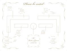 pretty, gold wedding seating chart sign. Names and details have been removed
