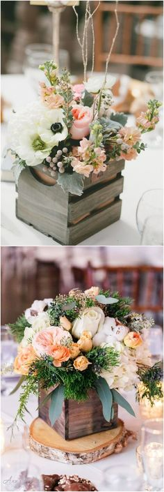 rustic country wooden box wedding centerpieces