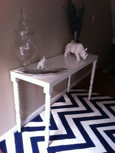 Pure genius! Hand painted chevron rug for a fraction of the cost