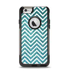 The Teal & White  Sharp Glitter Print Chevron Apple iPhone 6 Otterbox Commuter Case Skin Set