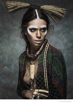 Nuria Nieva in Tribal Chic Fashion for Elle Romania by Jesus Alonso