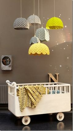 alice brans posted cute crochet lamp shades, cute for baby room. grey and white to their -crochet ideas and tips- postboard via the Juxtapost bookmarklet.