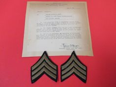 Original WWII US Pair Of Sergeant Rank Chevrons With Promotional Letter WW2