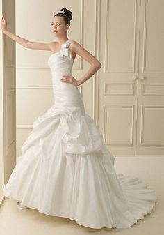 Classic Mermaid Floor Length One Shoulder Asymmetric Waist Court Train Wedding Dress - Lunadress.co.uk