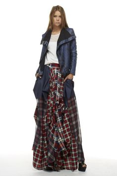 Image of Denim and Plaid Maxi Skirt