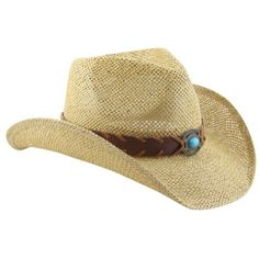 Natural Shapeable Straw Western Cowboy Hat, Vegan Leather Trim W/ Bead Design - http://todays-shopping.xyz/2016/06/01/natural-shapeable-straw-western-cowboy-hat-vegan-leather-trim-w-bead-design/
