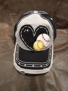 Baseball softball soccer mom distressed hat by BlingirlSpirit