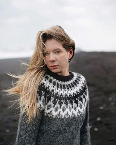 Enduring the harsh autumn winds of the Black Sand Beach of Vík, Iceland. I found this Icelandic sweater while I was there as one of my… Icelandic Sweaters, Nordic Sweater, Black Sand, Fair Isle Knitting, Cool Sweaters, Sand Beach, Knit Patterns, Knitwear, Crochet