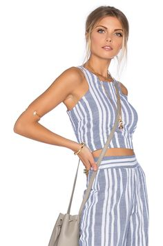 Tularosa Marley Crop Top in Blue & White | REVOLVE