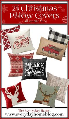 25 MUST HAVE Christmas Pillow Covers Under $10 | The Everyday Home | www.everydayhomeblog.com