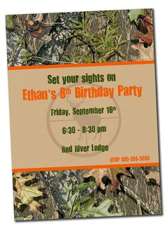 Printable Hunting Birthday Invitation for Boy Deer Camo by khudd, $10.00