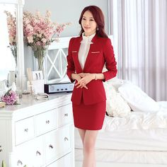 Female Skirt Suits New 2015 Uniform designs Womens Business Suits Formal Office Work For Ladies Suits Blazer with Skirts Red