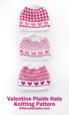 Mix and match all three patterns in any of four sizes for your baby or toddler with this cute Valentine Plaids Hats knitting pattern! Baby Hat Knitting Pattern, Knit Headband Pattern, Fair Isle Knitting Patterns, Knit Patterns, Free Knitting, Baby Knitting, Berlin, Knit Crochet, Crochet Hats