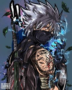 A ninja showing off his many tattoos and getting ready for an epic battle. Kakashi Anbu, Madara Susanoo, Naruto Vs Sasuke, Anime Naruto, Fan Art Naruto, Naruto Shippuden Anime, Boruto, Manga Anime, Naruto Wallpaper