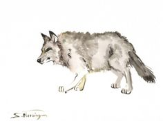 showantell:  Wolf, original watercolor painting, 12 X 9 in, animal art, watercolor animals, animal lvoer, wildlife, wolf by ORIGINALONLY (32.00 USD) http://ift.tt/VuP8N2