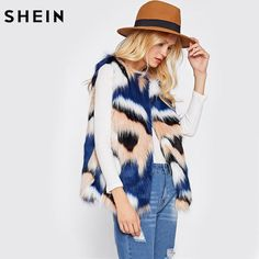SHEIN Colorful Faux Fur Vest Autumn Winter Vests for Women Multicolor Collarless Vest… #BlackFriday is coming early #BestPrice #CyberMonday