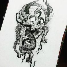 Schädel Tattoo Ideen - Skull Tattoo - Garden Planting - Home DIY Cheap - Blonde Hair Styles - DIY Jewelry Vintage Octopus Tattoo Design, Octopus Tattoos, Dragon Tattoo Designs, Skull Tattoos, Body Art Tattoos, Sleeve Tattoos, Girl Tattoos, Tattoo Fairy, Demon Tattoo