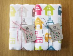 lovely hand printed towels - cute on one side, fluffy on the other