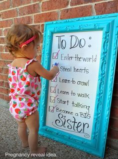 Cute pregnancy announcement for baby number 2 Cute Pregnancy Announcement, Birth Announcements, Pregnancy Info, Baby Number 2 Announcement, Big Sister Announcement, Sibling Pregnancy Reveal, Pregnancy Picture Ideas, Birthday Baby Announcement, Gender Reveal With Sibling