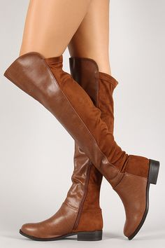 Breckelle Mixed Media Round Toe Riding Boot #boots #avasarmoire #styleinspo #suede #leather