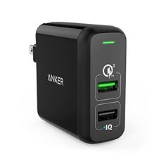 Quick Charge 3.0, Anker 31.5W Dual USB Wall Charger PowerPort 2 with Quick Charge 3.0 for Galaxy S7/S6/Edge/Edge Plus, Note 4/5, LG G4/G5, HTC One M8/M9/A9, Nexus 6, PowerIQ for iPhone, iPad and More