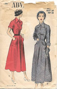 1940s Shirtwaist Dress Advance 5221 Sewing Pattern,  by GrandmaMadeWithLove on Etsy