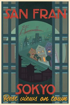 The directors wanted San Fransokyo to be a place audiences would want to visit. Artist, Lorelay Bove created various travel posters for San Fransokyo to showcase the different things you can do while. Disney Magic, Disney Art, Disney Movies, Disney Pixar, Minions, Hero 6 Movie, Retro Color Palette, Film Big, Walt Disney Animation Studios