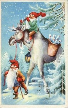 "Photo from album ""Lars Carlsson"" on Yandex. Vintage Christmas Cards, Christmas Pictures, Vintage Cards, Scandinavian Gnomes, Scandinavian Christmas, Troll, Les Moomins, Norwegian Christmas, Images Vintage"