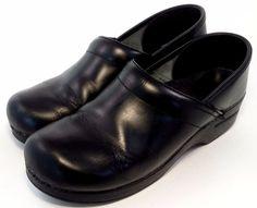 DANSKO Women's Shoes ~ Black Cabrio Leather Staple Clogs ~ Euro 41, US 10.5 M #Dansko #Clogs