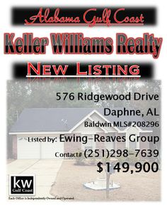 576 Ridgewood Drive, Daphne, AL...MLS# 208296...$149,900...3 Bedroom, 2 Bath...Great Lake Forrest Home. Close to entrances. Convenient location to schools, shopping, and work. Home is on a large lot with a private, wooded back yard. Wood deck on the back great for entertaining. Home has a split bedroom and an open living/kitchen area with separate dining room. Ready to move in. Well manicured front yard. Two car garage. A must see home. Please contact The Ewing-Reaves Group at 251-298-7639.