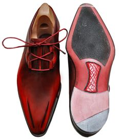 """This pair of Bespoke is a combination of two styles, Fantomas and Lagoon. The shoes are """"blood red"""" and have a very unique touch: an encrusted crocodile skin on the leather sole."""
